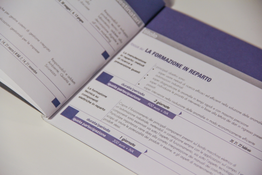 A detail of the description of a course, with the information about the cost, the duration, and the content of the course itself. Everything is obviously connected with the icon of the training course and its color, in this case, for example, blue is the leit-motive of the page.