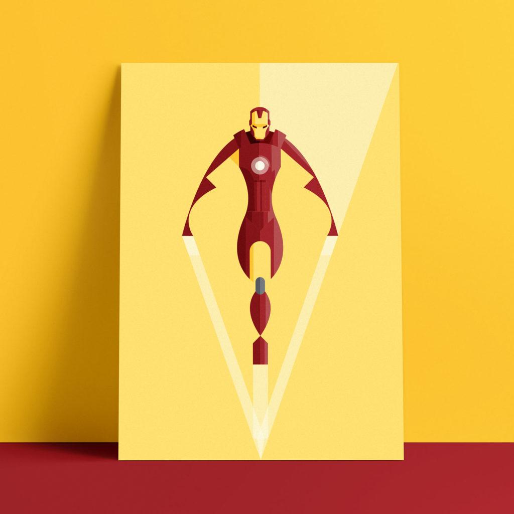 Iron Man, l'eroe Marvel reinterpetato in chiave estremamente geometrica mentre spicca il volo coi suoi retrorazzi.