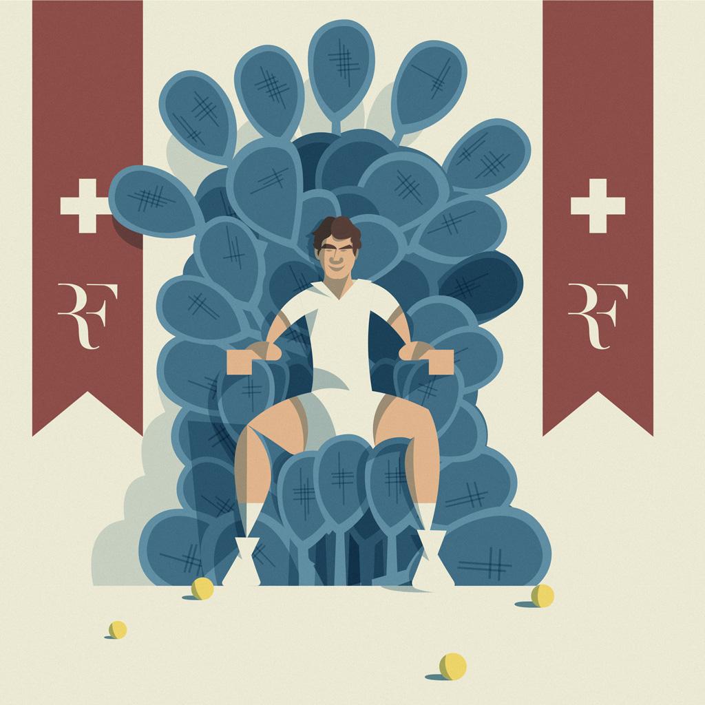 King Roger Federer sul trono di racchette, con due stendardi su cui campeggia il suo logo su fondo rosso con sopra la croce svizzera.