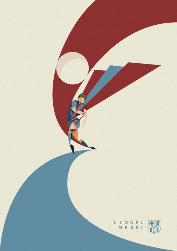 Lionel Messi si compone in un incrociarsi di linee blau grana, in un'opera minimalista che mette al centro lui e soltanto lui.