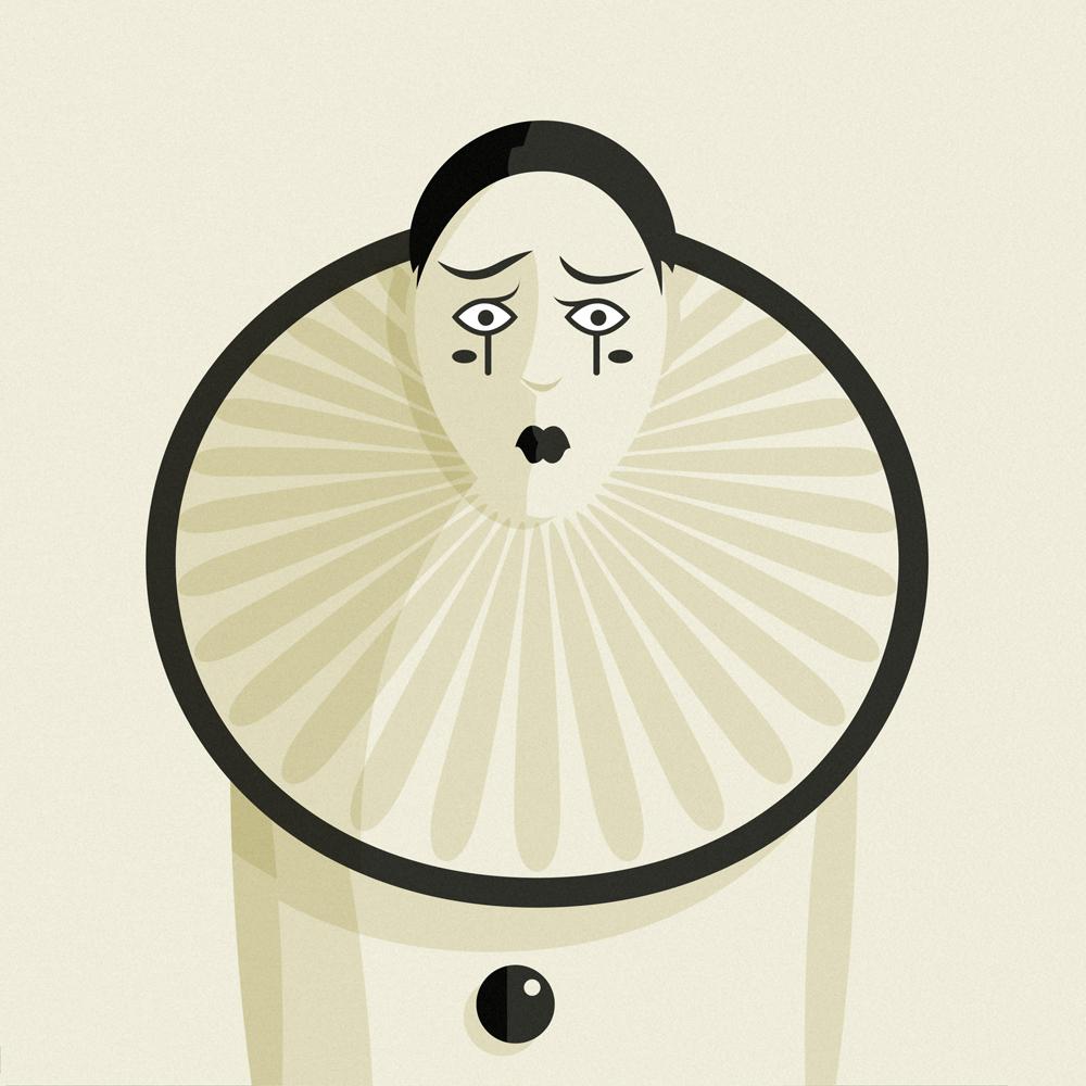 Il volto di Pierrot con le tipiche sopracciglia corrugate dallo sconforto, il collare circolare ricco di drappi e i grossi bottoni neri sul panciotto