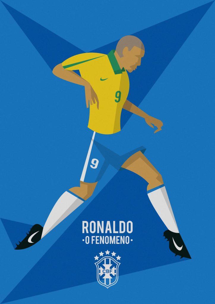 """Ronaldo """"O' Fenomeno"""", forse il più grande genio calcistico di sempre e da sempre maledetto dalle sue gambe di cristallo. Ma mai abbandonato dal genio. Qui è immortalato con la tipica divisa verde-oro, intento a dribblare su uno sfondo blu che si compone con la tinta dei suoi pantaloncini."""