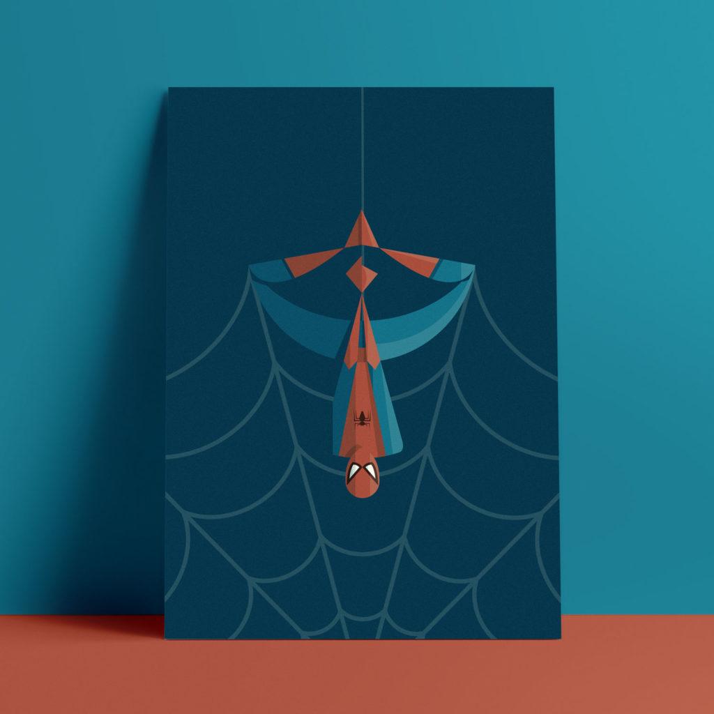 Spider Man, the poster. A testa in giù con le gambe a formare un'ansa della sua ragnatela. il tutto su uno sfondo blu vintage
