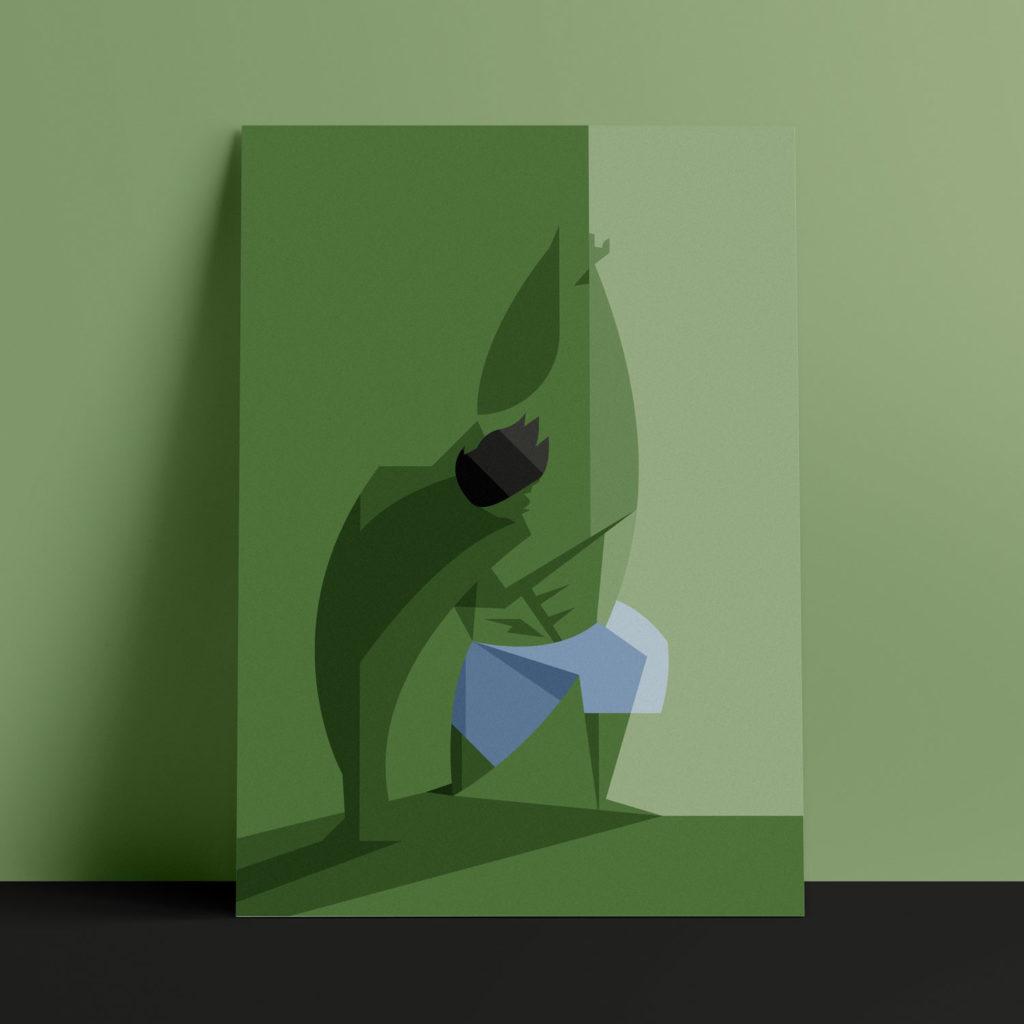 The Hulk, the poster. L'eroe Verde si abbina allo sfondo, nella sua possenza sbatte il pugno per terra e una luce ne mette in risalto i muscoli sul lato destro.