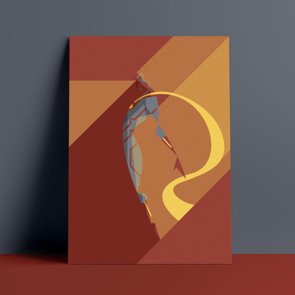 Vision, the poster. Uno degli ultimi arrivati in casa Avengers, sprigiona luce dalla fronte e dei raggi ne sferzano il mantello mentre un ombra ne incupisce il volto. Sfondo rosso.