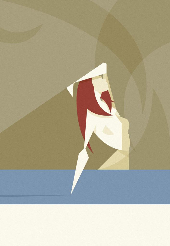 Una ragazza emerge dall'acqua immergendo una mano e mostrandosi nuda e suadente coi lunghi capelli rossi che fluiscono leggeri .