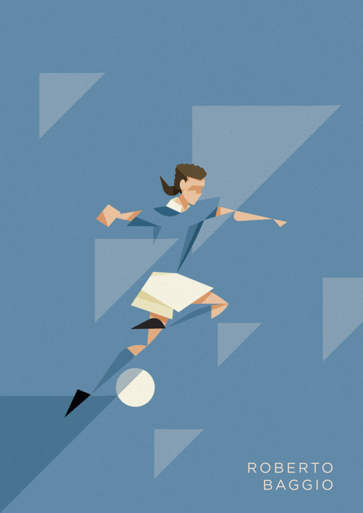 Roberto Baggio, icona del calcio italiano, vestito d'azzurro su sfondo azzurro, circondato da triangoli, solca il campo saltando col pallone trai piedi