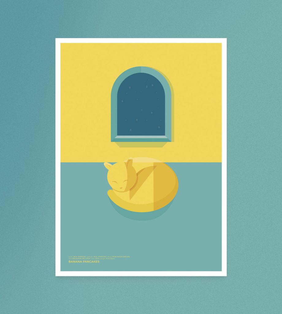 Banana Pancakes, un gatto giallo appisolato vicino alla finestra, mentre una timida pioggia scroscia sul vetro.