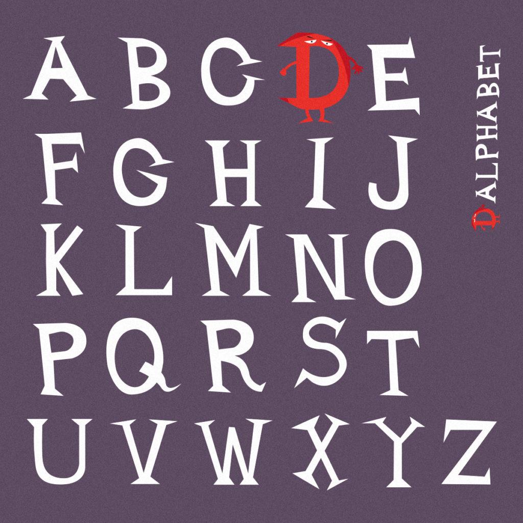 Il D-Alphabet, realizzato appositamente per questo video divulgativo. Questo font è molto scherzoso e irriverente, tutte le lettere sono maiuscole e irregolari.