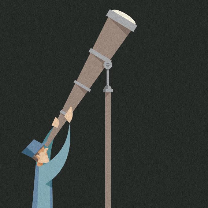 dettaglio di una delle illustrazioni, l'operaio vestito d'azzurro ammira il cielo con un telescopio di notte.