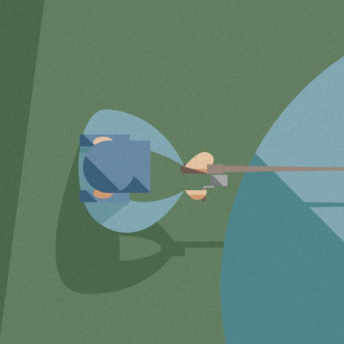 dettaglio di una delle illustrazioni, l'operaio vestito d'azzurro pesca pesci multicolore da un laghetto.