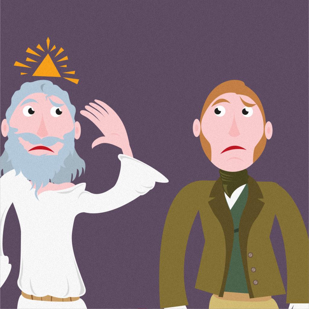 Un dettaglio del video: Dio e Darwin si guardano con aria dubbiosa…chissà perché?