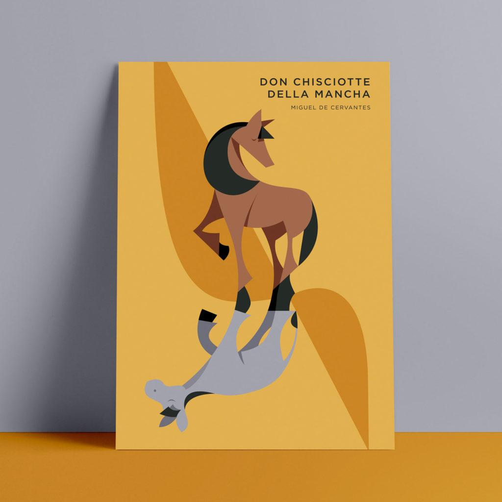 Don Chisciotte, Cervantes. Un caldo sfondo giallo, un mulo e un cavallo sovrappongono gli zoccoli in un incrocio di linee.
