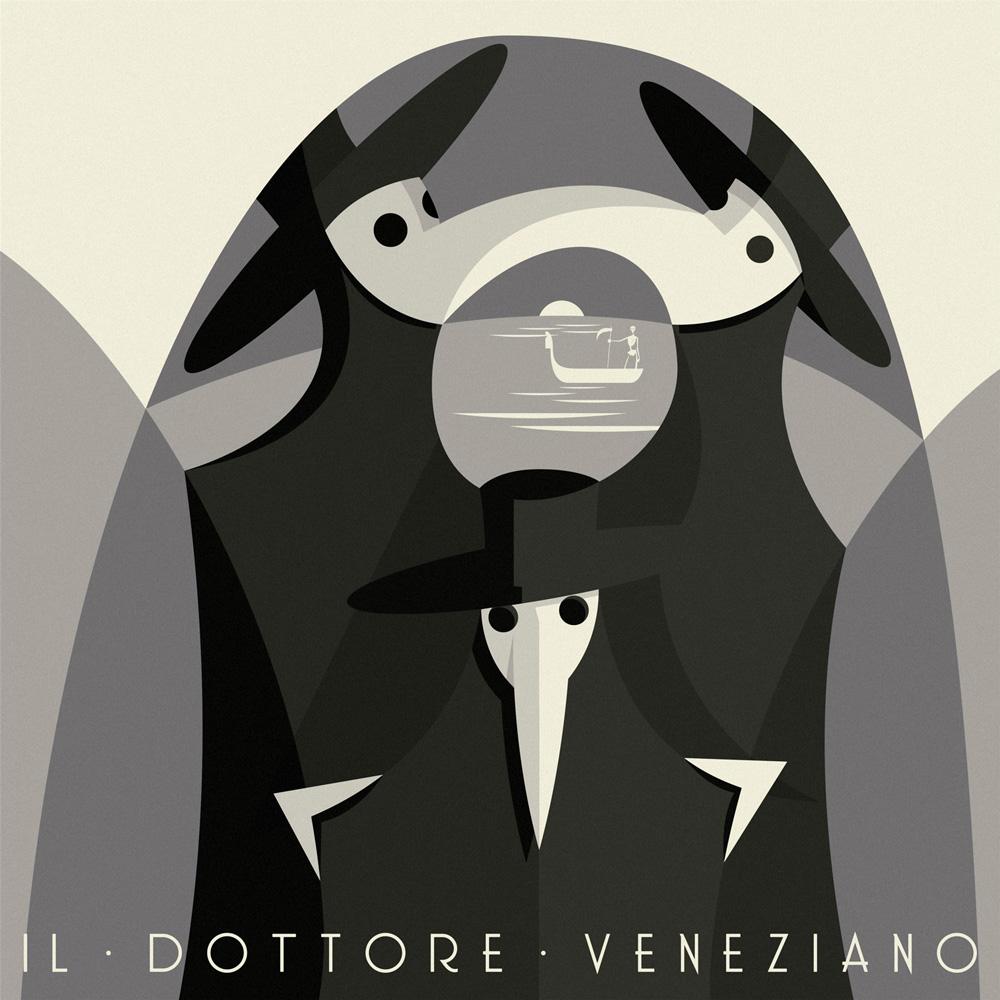 Il dottore veneziano, tre figure di nero vestite coi tipici copricapi a becco ricurvo e i capelli a tesa larga si compongono in un intreccio di forme geometriche tra loro interconnesse, sullo sfondo una luna che cala nella laguna e una gondola...