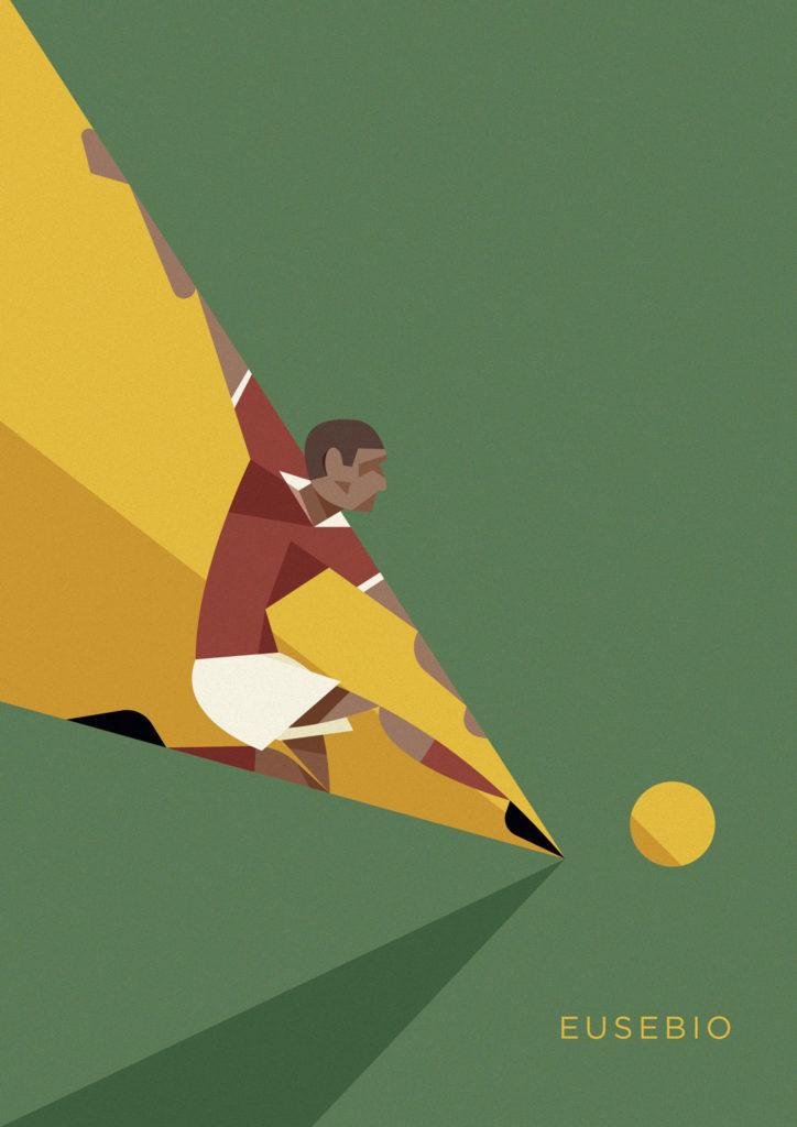 Eusebio, idolo del calcio portoghese, qui con la maglia del Benfica rincorre un pallone con il suo incedere da pantera.