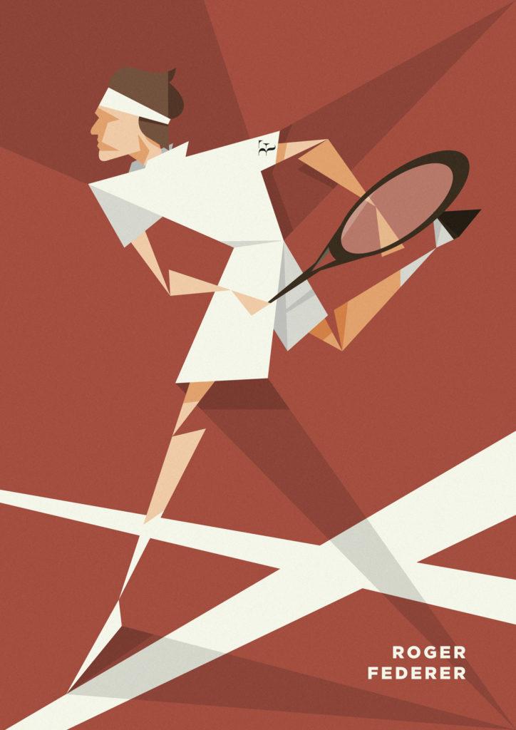 Federer vestito di bianco su fondo rosso che tira uno smash, tutto caratterizzato da forme geometriche molto spigolose