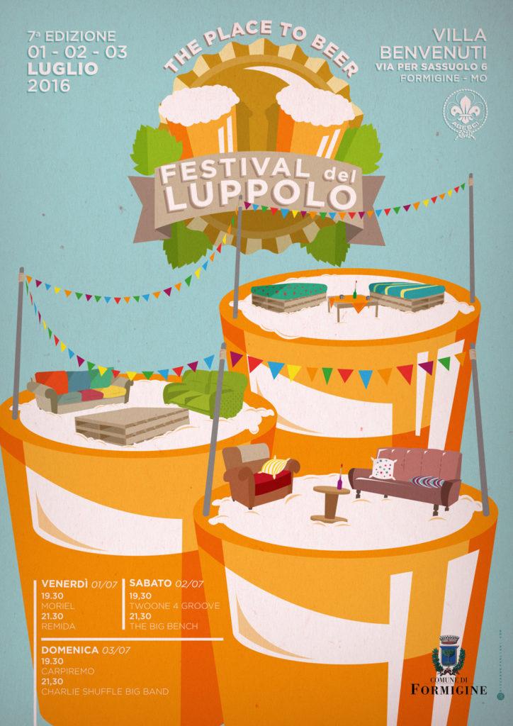 Locandina A3 di Festival del Luppolo, sfondo verde acqua pastellato, bandierine e boccali su cui poggiano sgangherati divanetti e poltroncine