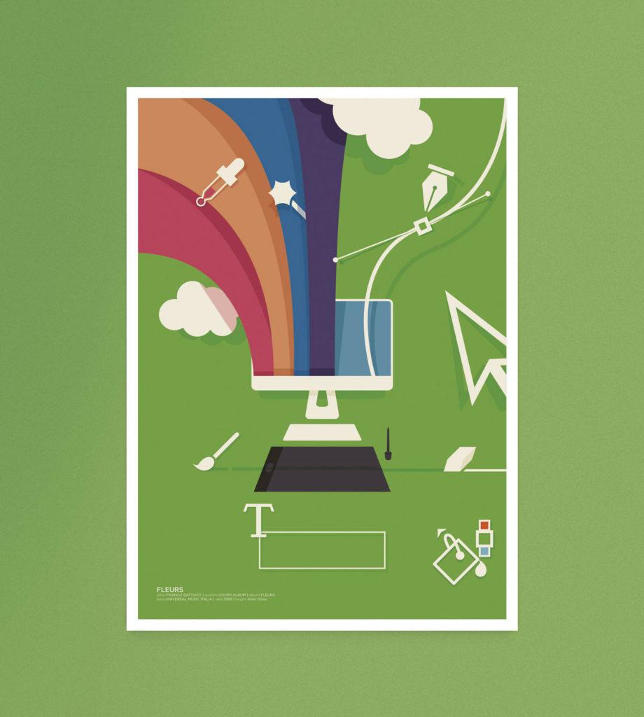 Fleurs, un computer esplode di icone e colori formando un arcobaleno creativo