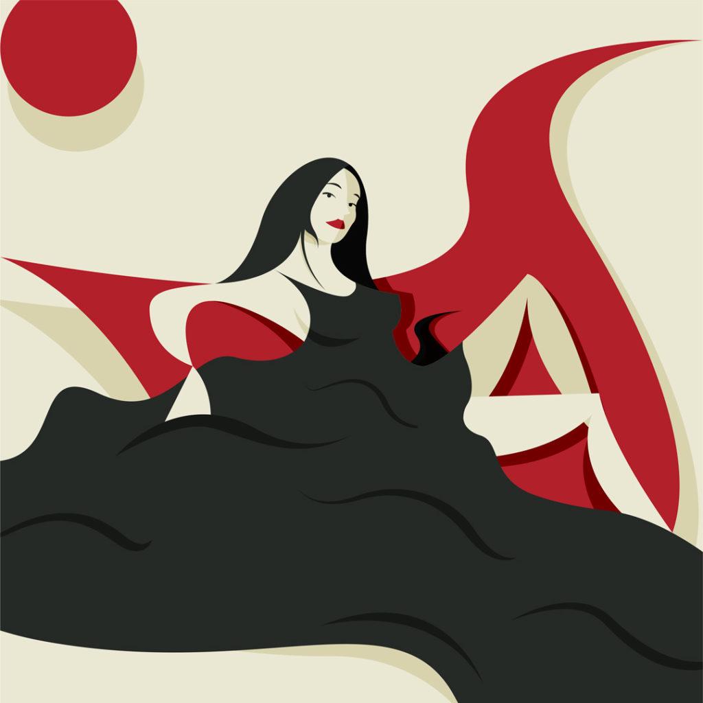 Ragazza sul divanetto, conturbante modella in bianco e nero ,dall'abito fluente circondato da un candido sfondo bianco e alcune astratte forme rosse.