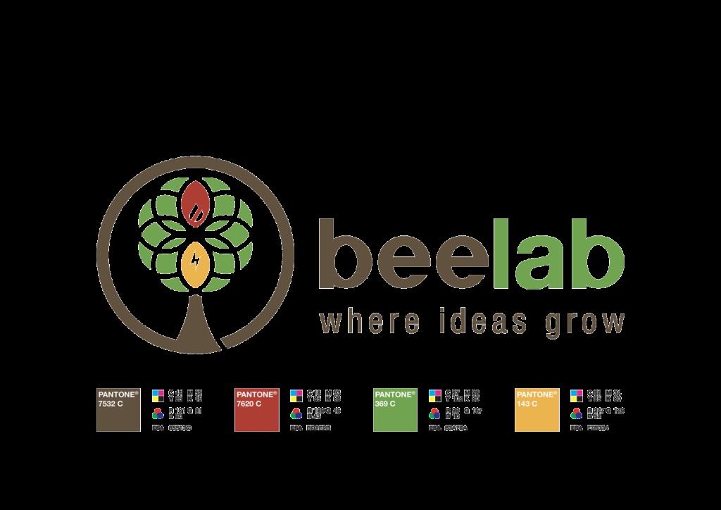 """La guida colore del marchio, quattro sono i pantoni battezzati per definire questo logo. Un verde per le foglie generiche, un rosso per la foglia-fiamma, un giallo per la foglia-fulmine e un marrone per tronco e circonferenza esterna all'albero. Il verde e il marrone colorano anche il logotipo del marchio. A tutto si aggiunge la headline """"Where ideas grow"""" sotteso a Beelab."""