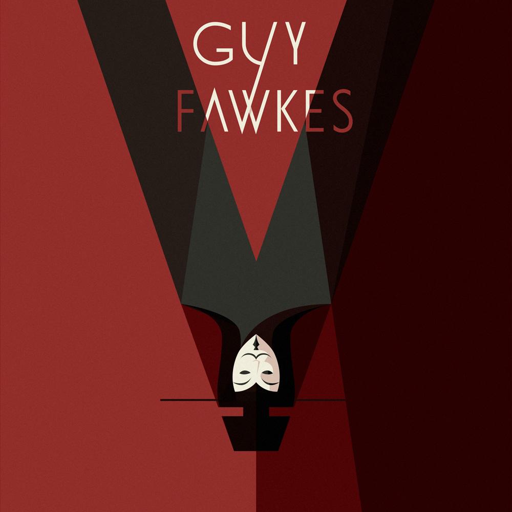 La maschera di Guy Faukes, un sanguinoso sfondo rosso mette in risalto il suo profilo messo a testa in giù, a formare una V