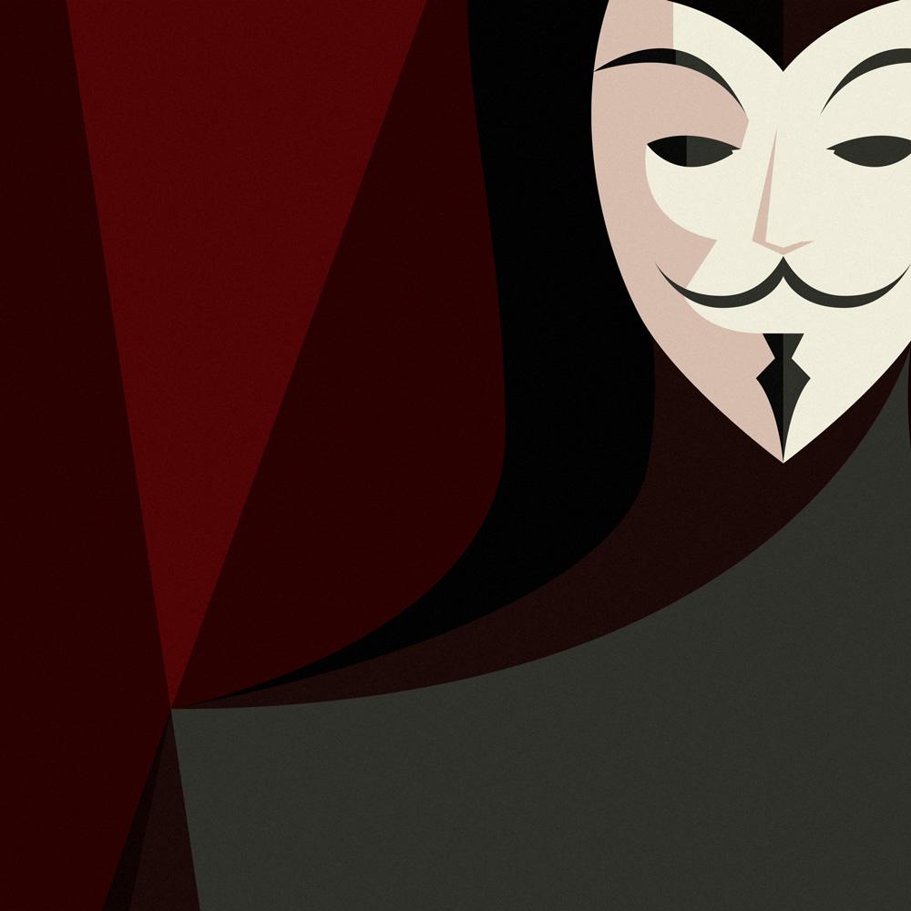 """Dettaglo di Guy Faukes sul suo viso, reso ormai noto dal film """"V per Vendetta"""". I tipici baffi alla Dalì. gli occhi incavati completamente neri, l'espressione machiavellicamente sorniona."""
