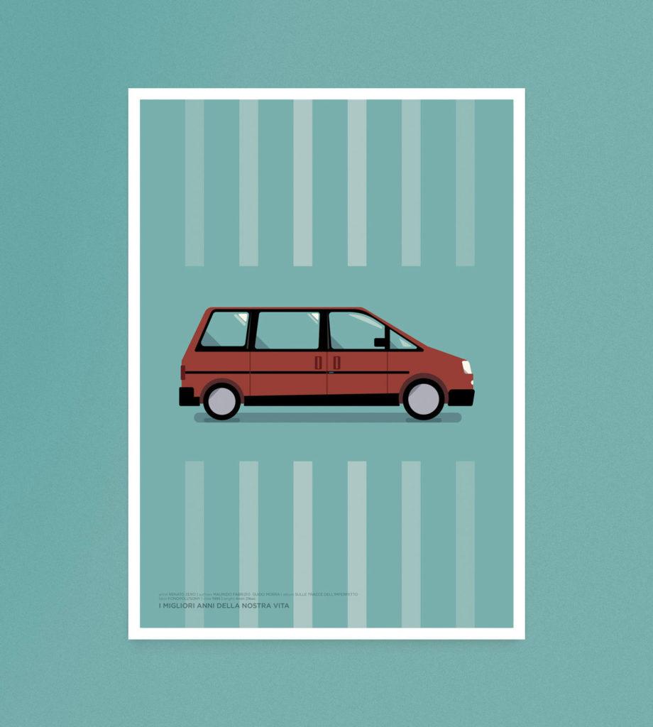 I migliori anni della nostra vita, un Fiat Ulisse bordeaux al centro del poster, su sfondo verde acqua