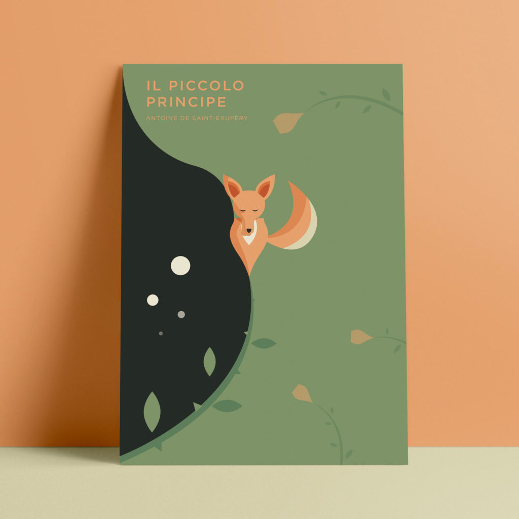 Il Piccolo Principe, Exupery. Una volpe diventa un bocciolo di rosa in un prato verde, mentre all'orizzonte si staglia un cielo nero che spinge lo sguardo a tanti piccoli pianeti.