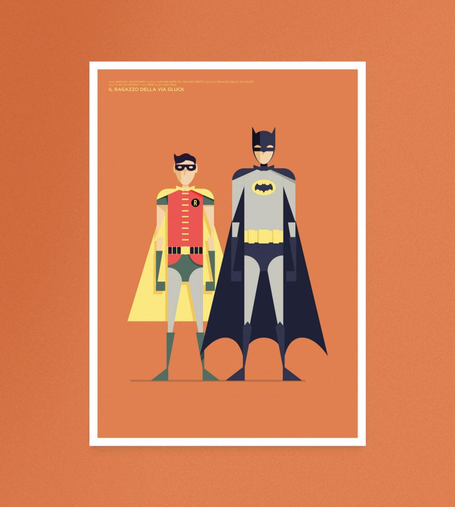 Il ragazzo della via Gluck, Batman e Robin con i tipici costumi della serie cult anni '80 guardano frontalmente l'interlocutore