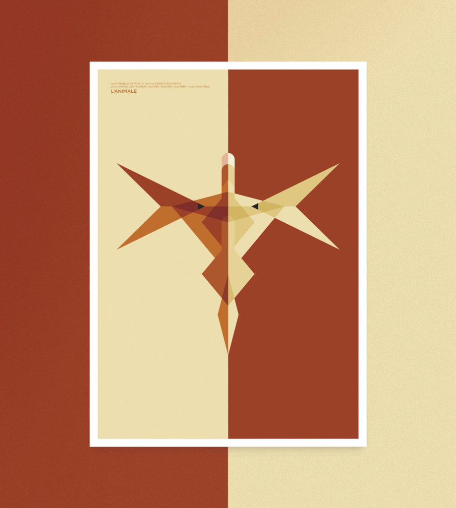 L'animale, una figura astratta si riflette in verticale al centro del foglio, tra forti contrasti cromatici