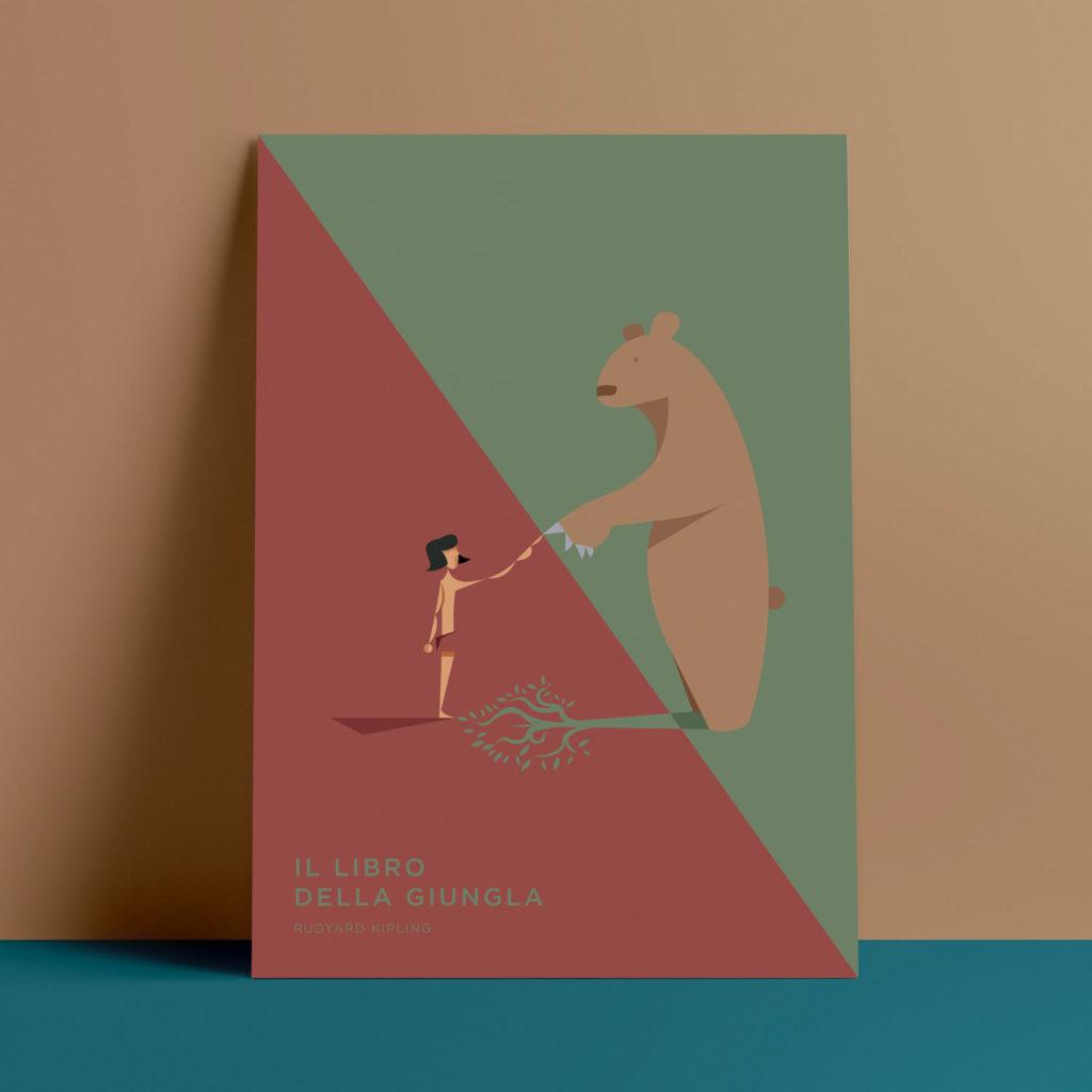 Il Libro della Giungla, Kipling. Balù e Mougly si toccano al centro del foglio, unendo due mondi spesso divisi: quello umano e quello animale. L'ombra del dolce orso entra nel mondo degli uomini, creando un albero sul terreno rosso.