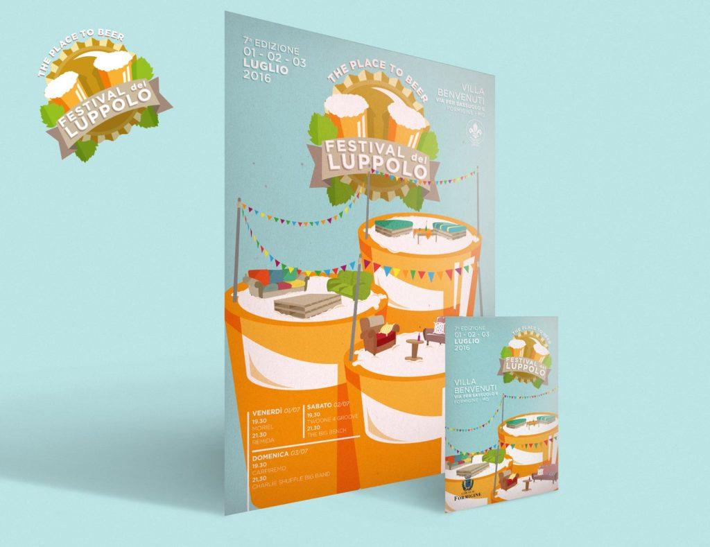 Locandina e volantino 3D del Festival del Luppolo 2016, formati A3 e A5. Entrambi presentano lo stesso sfondo verde acqua pastellato, boccali con sopra divanetti e poltroncine sgangherati, con il logo in bella vista nella parte alta della locandina