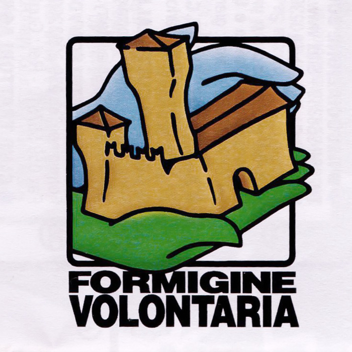 The Volunteering in Formigine's logo, two hands, one green and one blue (the colors of the city) are carefully holding the castle, symbol of Formigine.