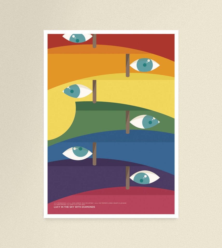 Lucy in the sky with diamonds, foglie a forma di occhio spuntano da frutti che formano un arcobaleno di colori.