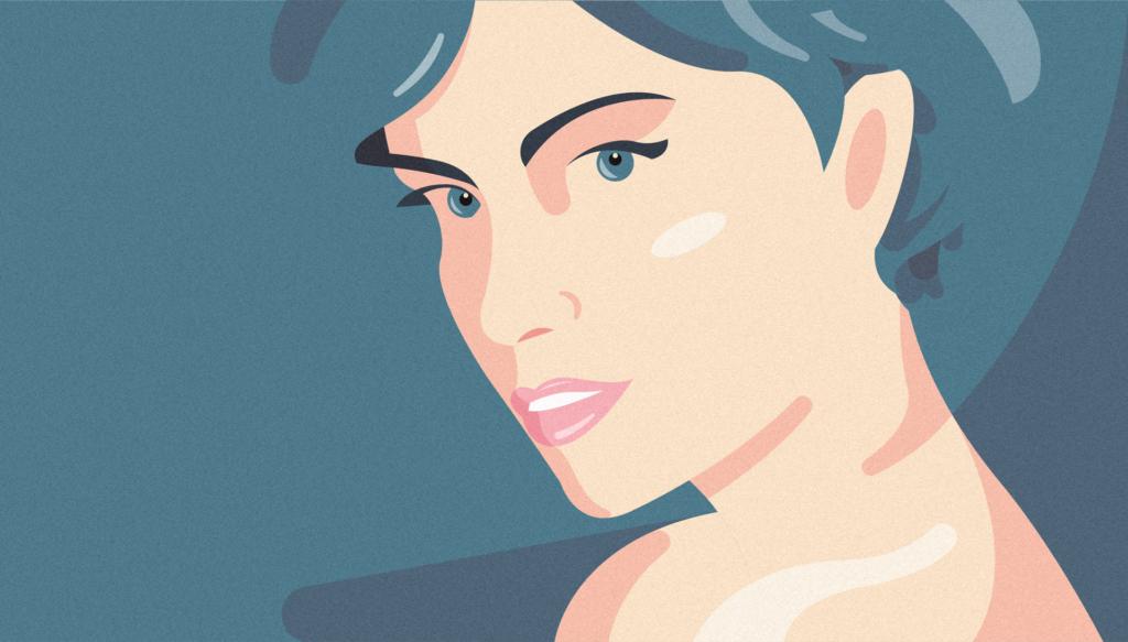 Ritratto di Giorgia Malambra, capelli azzurri come il fondo su cui poggia il suo viso, occhi intensi e forme volutamente arrotondate per dare al soggetto maggiore fluidità.