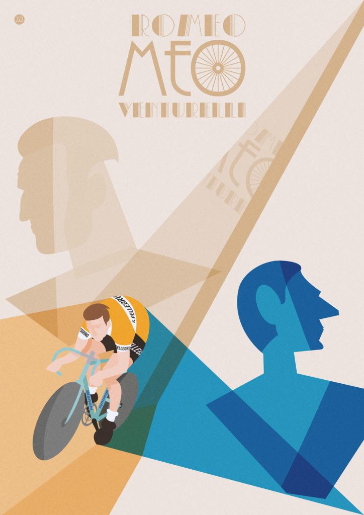 Romeo Venturelli sfreccia sulla sua Bianchi azzurra, vestito con la classica tenuta nero-arancio della San Pellegrino. Sullo sfondo si stagliano i busti di due ciclisti di cui è stato contemporaneo e di cui lui sarebbe dovuto diventare erede: Fausto Coppi, dal tipico profilo allungato, e Gino Bartali, con aria rabbuiata e austera.