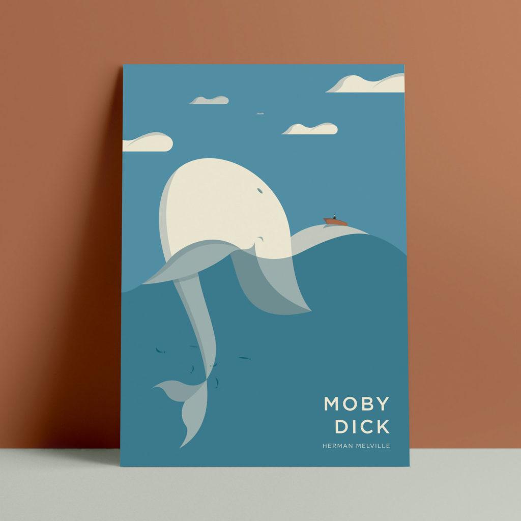 Moby Dick, Melville. La grande balena bianca sostiene su una delle sue grandi pinne la scialuppa del capitano Acab.