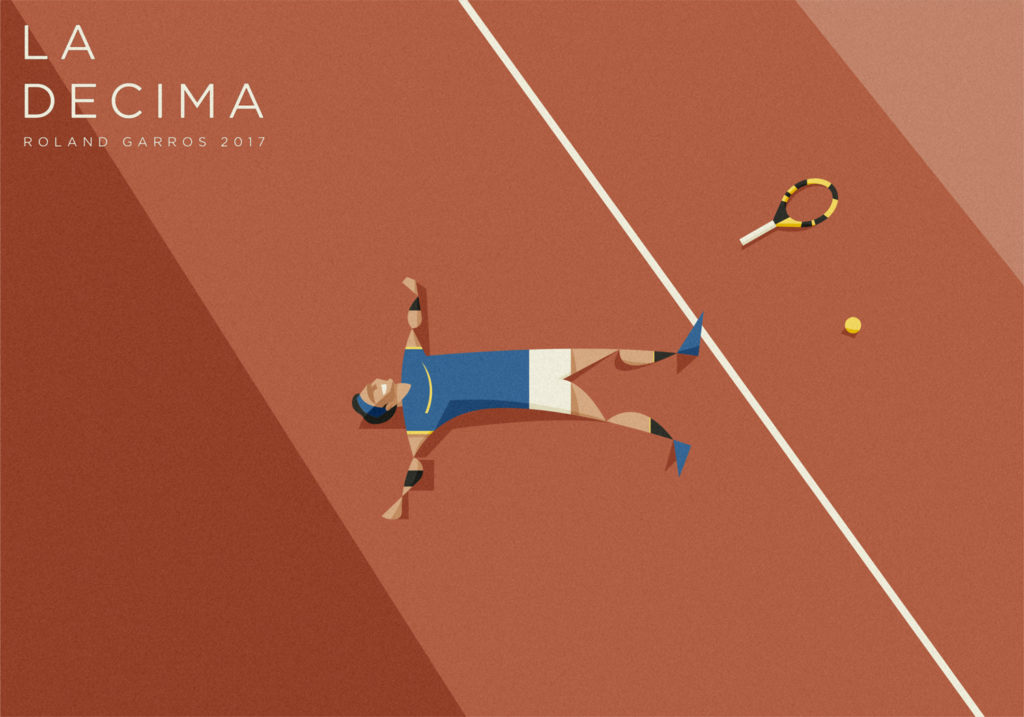 Nadal accasciato al suolo felice dopo aver raggiunto la decima vittoria al Roland Garros, nel 2017