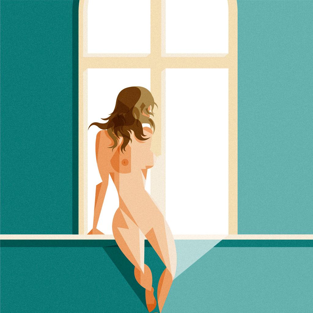 Nudo di donna alla finestra. Una ragazza poggia sull intercapedine creata tra finestra e parete completamente nuda e appena sfiorata a sottili fasci di luce.