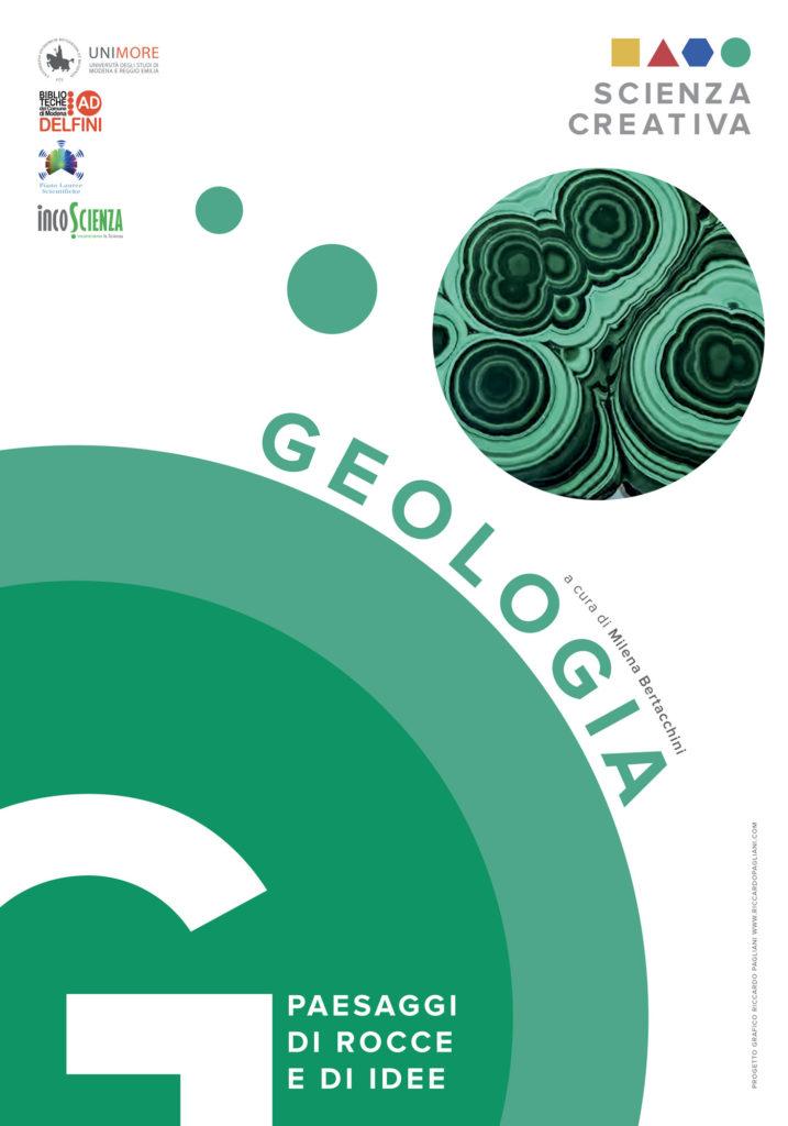 Pannello introduttivo di Geologia, varia cerchi verdi sovrapposti e di differente intensità ad indicare le stratificazioni del sottosuolo terrestre.
