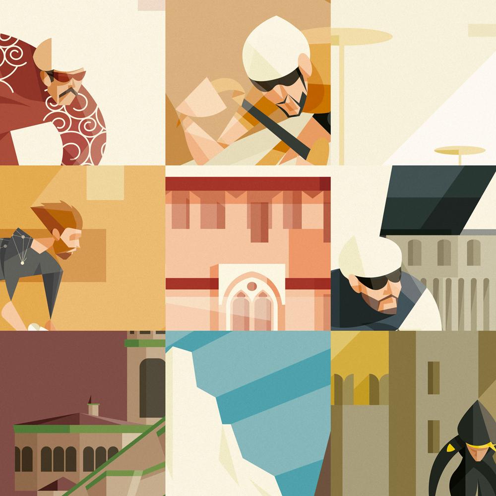 Alcuni particolari di luoghi e personaggi estratti dai poster.