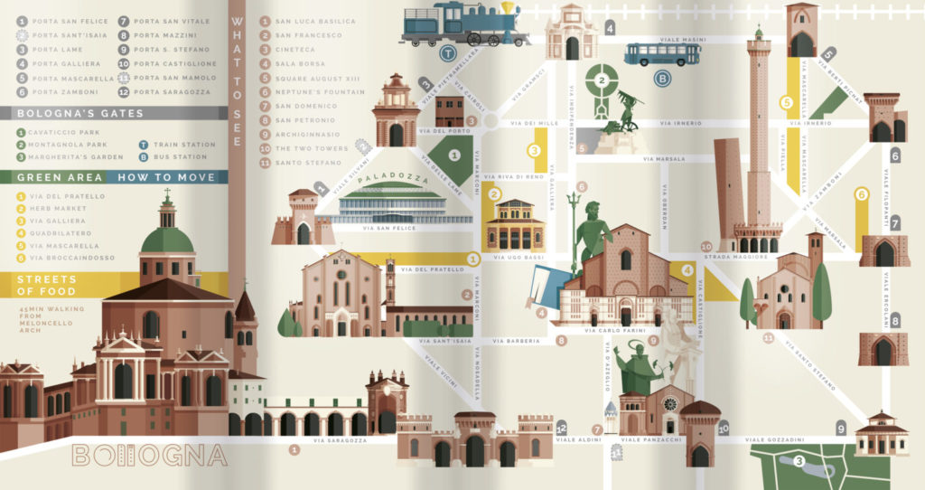 Bologna, the map. The illustrated map of Bologna with all monuments and attractions from this amazing italian town. Very sinthetic and easy to read, base on five colours, with simplified street and quick informations.