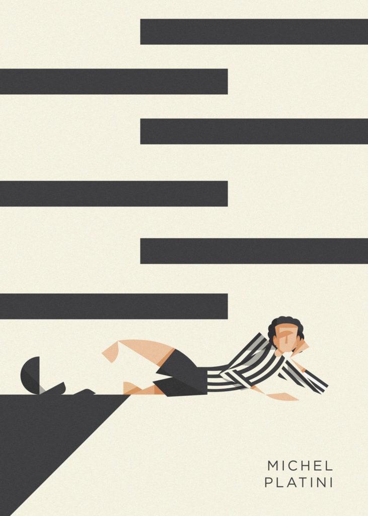 Michel Platini sdraiato per terra, a sfidare l'arbitro dopo un gol spettacolare annullato. Il tutto in bianco-nero.