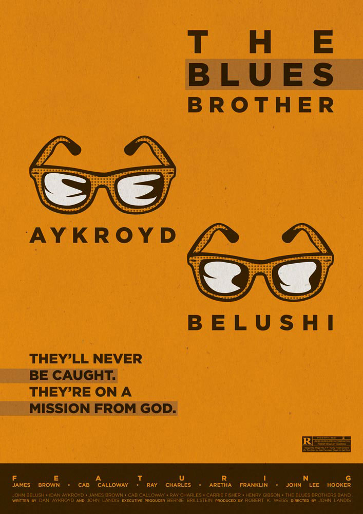 The Blues Brothers, an orange poster on which two black figures stand out: the sunglasses of Dan Aykroyd and John Belushi. On the bottom the cast and the production are written in orange on a dark background.