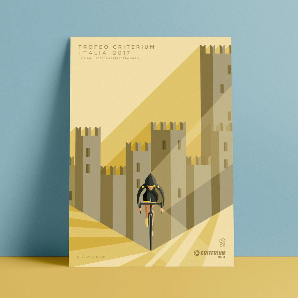 Castell'Arquato, il poster. Stefania Baldi in completo nero si sospinge sulla sua bici mentre la luce la colpisce da destra e merli del castello la circondano con nette simmetrie.