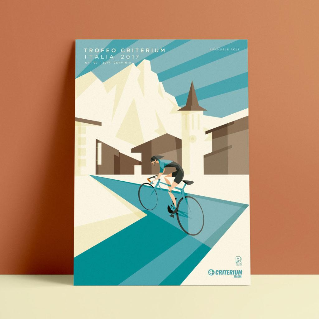 Cervinia, il poster. Emanuele Poli segue una azzurra salita verso il pase, inseguendo il Cervino che si staglia imponente all'orizzonte, solcato da lampi di luce.
