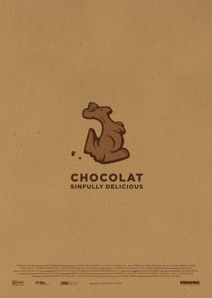 "Chocolat, a poster with a warm brown background with a chocolate cangaroo bitten on one side in the centre. Below that there is the writing ""Chocolat, sinfully delicious"" while on the bottom there are the names of production and the logos of the producers."
