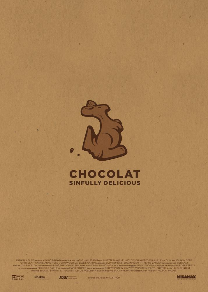 """Chocolat, un marrone caldo fa da sfondo a questo poster, al cui centro spuntaun canguro di cioccolaro mordicchiato su un lato. Subito sotto la scritta """"Chocolat, sinfully delicious"""", mentre in basso compaiono i nomi della produzione e i loghi dei produttori."""