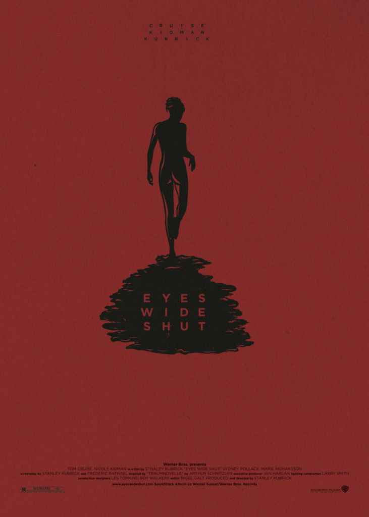"""Eyes Wide Shut, l'ultimo capolavoro di Kubrick. Sfondo rosso porpora, in alto in piccolo ma a caratteri maiuscoli le parole """"Cruise Kidman Kubrick"""". Al centro, in nero, la sagoma nuda di Nicole Kidman ripresa di spalle proietta un'ombra sinistra su cui compare """"Eyes Wide Shut"""". Nella parte bassa del poster, sempre in nero, compaiono i nomi della produzione e i loghi dei produttori."""