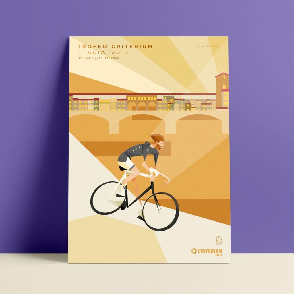 Firenze, il poster. Alec Brigs affronta un tornante sul Lungo Arno, mentre Pontevecchio si tinge di rosso al tramonto di Firenze.